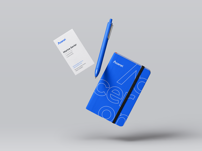Acceron - Notebook & Business Card businesscard notebook modern logo blue modern tech acceron graphic design company logo branding design branding brand identity