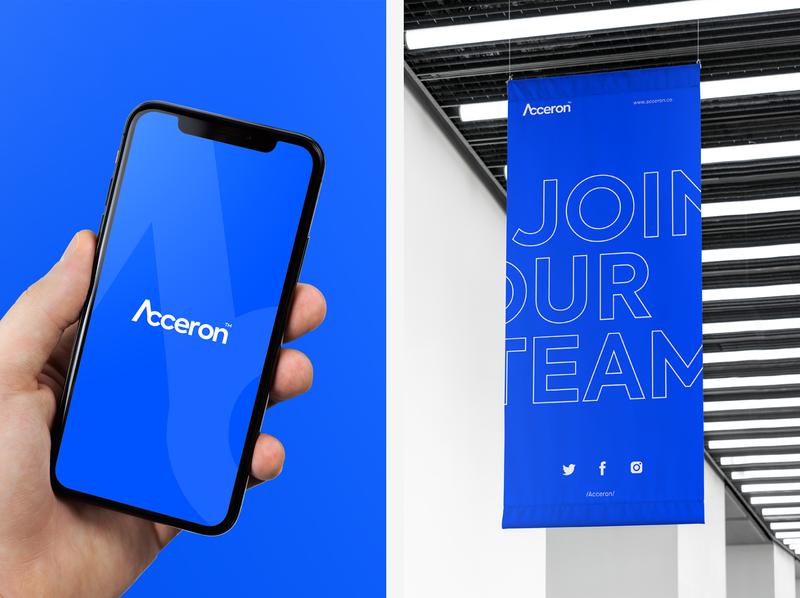 Acceron - Phone & Banner modern branding banner phone technology blue tech acceron modern design identity graphic design logo company branding design branding brand identity