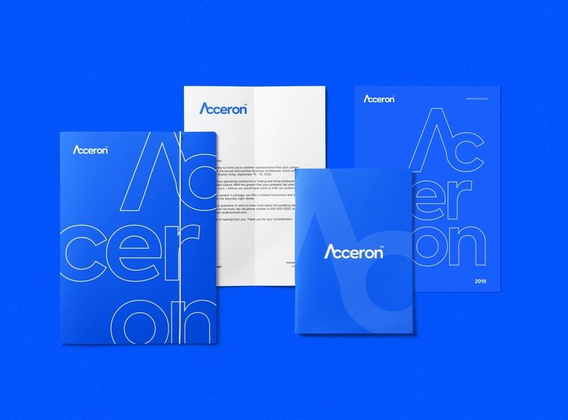 Acceron - Brand Stationery modern design brand design visual identity design graphic design notebook mockup folder modern stationery stationery mark minimal blue modern acceron branding design branding brand identity
