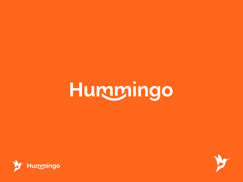 Hummingo Brand logotypes logomark graphic design hummingbird logo hummingbird smile funlogo orange logodesign logotype logo brand identity brand design branding