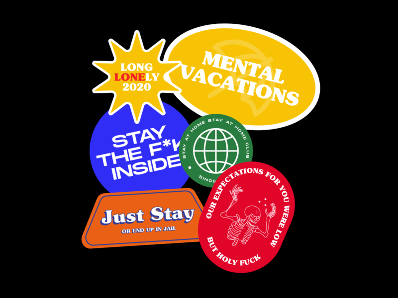 Mental Vacations illustrations visual design covid19 labels collections identity sticker pack label design logo quarantine quarantine stickers graphic design