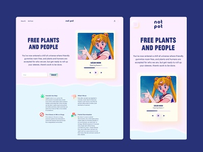 Not Pot Landing Page & App Screen sketch figma adobexd 80s retro anime colorful uxdesign uidesign ux ui website design web design landingpagedesign landing page landingpage landing web website