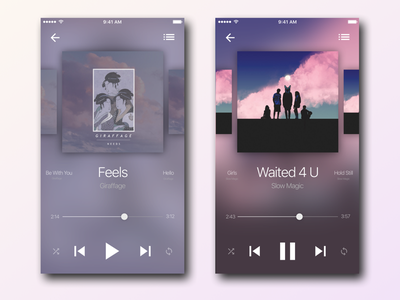 Music Player music player rdio player spotify music interface ui ios iphone minimalist