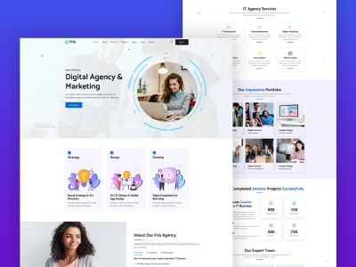 Fria - IT Startups & Digital Services HTML Template portfolio agency landing page corporate it solutions branding landing page creative design landing page design web design website design digital agency