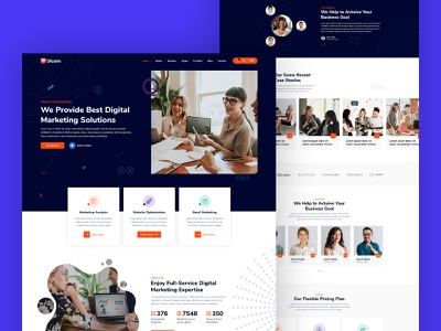 Dicom - SEO & Marketing Agency WordPress Theme portfolio web design landing page ux agency webdesign website creative design corporate website design