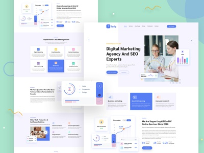 Tarly - Multipurpose Landing Page Template seo landing saas landing portfolio landing personal landing multipurpose multi-niche landing marketing landing landing multipurpose landing html landing app landing agency landing website webdesign web design landing page design landing page website design creative design