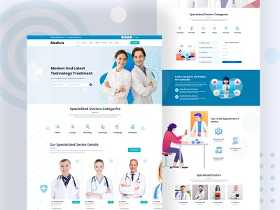 Mediva - Specialist Doctors & Chambers Template physician pediatric medicine medical care medical hospital healthcare health fitness doctor dentist dental clinic beauty landing page design landing page website creative design