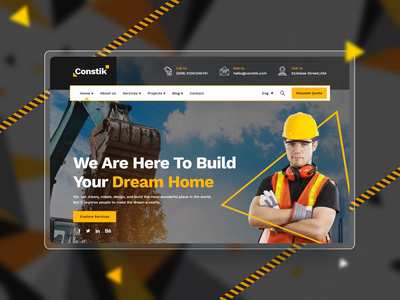 Constik - Construction & Building Company agency ux renovation real estate company real estate builders industry industrial engineering corporate constructor construction business webdesign landing page creative design