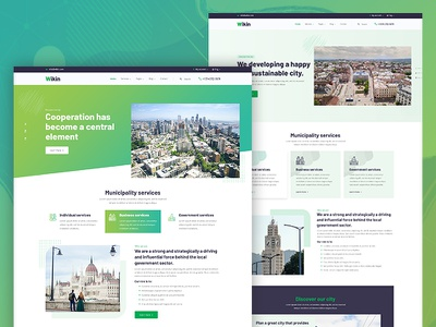 Wikin - Municipality Services Template town planning corporate landing page creative design