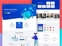 Big data and analytics landing page concept