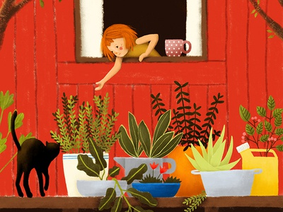 Girl  Cat  Plants And Red House Illustration