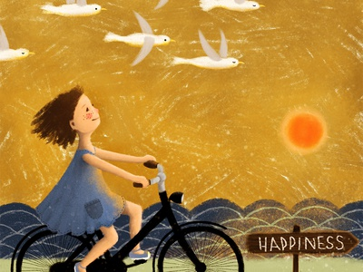 Girl Riding Bike To Happiness