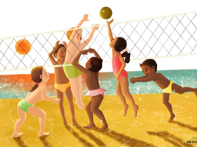 Kids Playing Beach Volleyball Illustration