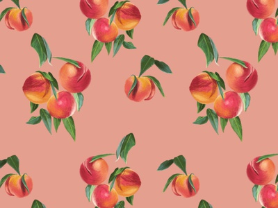 Peaches Repeat Pattern on Light Pink Background