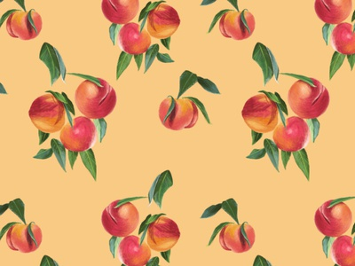 Peaches Repeat Pattern on Yellow Background