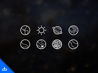 Freebie: Space Icons free download freebie space icons planet earth sun saturn venus mars jupiter