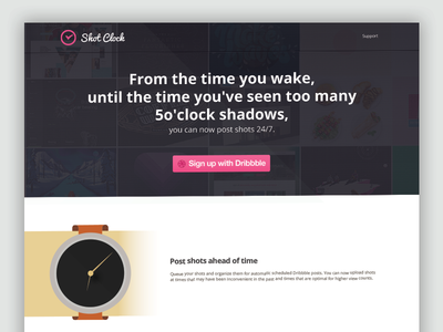 Dribbble Scheduler App dribbble schedule app api flat logo watch time sign up shadow button