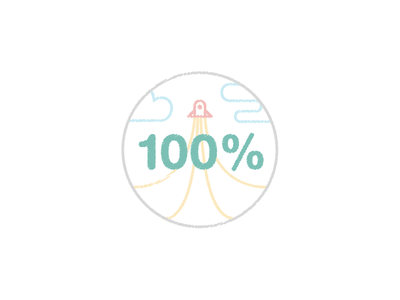 100% Score Illustration drawing scribble icon sticker badge clouds illustration flat lite colors rocket 100