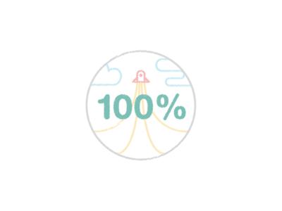 100% Score Illustration drawing scribble icon sticker badge clouds illustration flat lite colors rocket 100