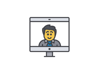 User Illustration person ux stroke line flat icon imac apple mac suit illustration user