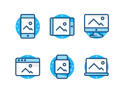 Blue Device Icons shadows strokes shading line icons blue browser macbook apple watch ipad mac iphone mobile