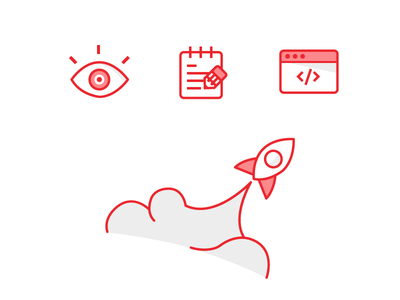 Red Process Icons vector style code illustrations flat designs branding strokes shadows shading line icons browser red