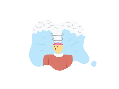 : 0   MIND BLOWN person brain cloud corporate illutration line flat cartoon simple boom explosion mind