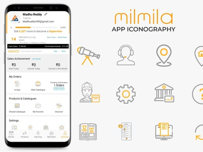 MilMila App Iconography vector icon design branding ux minimal illustration
