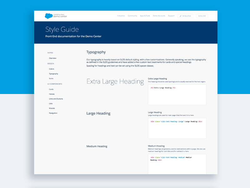 Salesforce Demo Center Style Guide by Lindsay Siovaila for