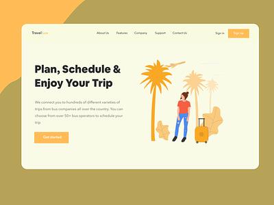 Landing Page Exploration travel webdesign illustration design ui design ui
