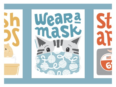 Stop the Spread of COVID-19: Wear A Mask typography design vectorart cat probono poster illustration