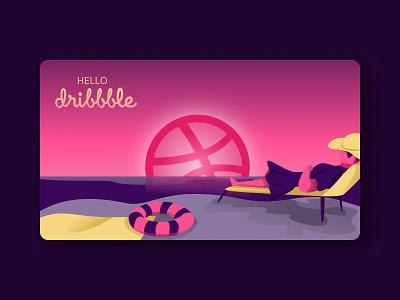 Hello Dribbble! minimalist flat character design illustrations/ui illustration art digitalart uidesign webdesign illustrations web illustration illustration hellodribbble