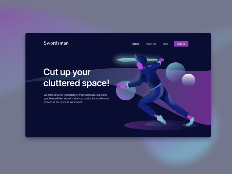 Swordsman Home Page (Dark) illustrations digitalart modern vector webdesign ui design minimalist illustrations/ui illustration character design