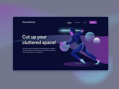 Swordsman Home Page (Dark) illustrations digitalart modern vector webdesign ui design minimalist illustrations/ui illustration character design