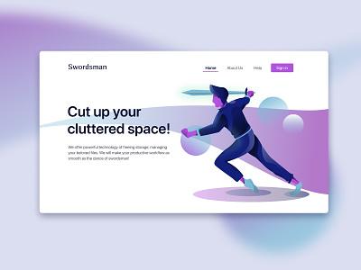 Swordsman Home Page (Light) digitalart minimalist illustrator design webdesign illustrations/ui flat illustrations illustration character design