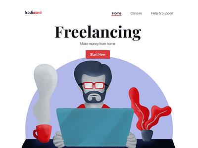 Start Freelancing app drawing artwork flat mobile minimal illustrator web illustration web character design ui illustration