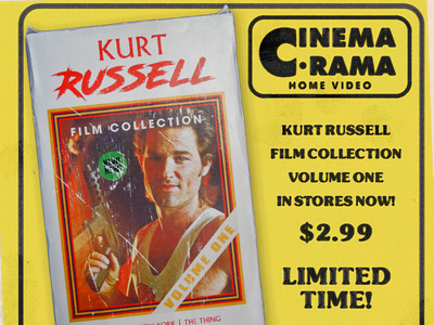 CinemaRama presents Kurt Russell kurtrussell 80s design movies vhscoverart vhsart cinemarama cinema graphicdesign video vhs