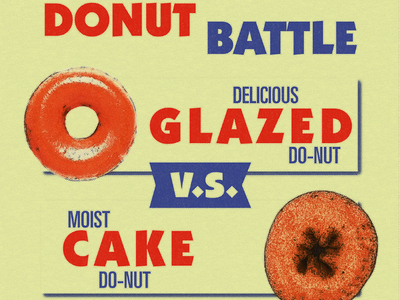 Donut Battle 1950s donut retro graphic design