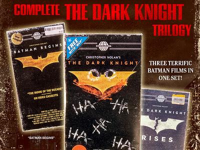 Complete The Dark Knight Trilogy movie design graphicdesign vhstapes vhsedit vhs vhstape vhsart cinema cinemarama vhsforever