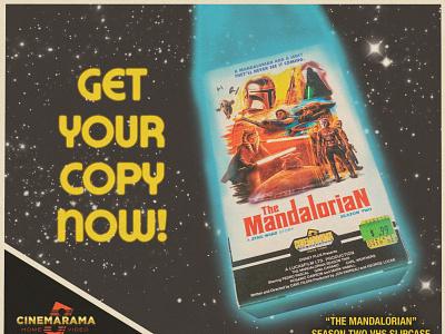 Mando Season 2 VHS ad cinemarama design the mandalorian starwars 1980s illustration poster analog vhs retro graphic design