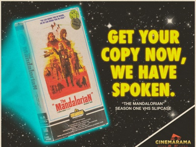 Mando 1 Season One VHS ad design cinemarama poster the mandalorian starwars 1980s illustration vhs retro