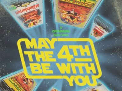 """May the 4th"" Cinemarama social media graphic poster design illustration starwars print halftone 1980s movie cinemarama vhs design retro graphic design"