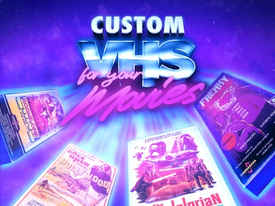 """Custom VHS"" promotional graphic illustration analog vhs branding 1990s 1980s poster cinemarama design retro graphic design"