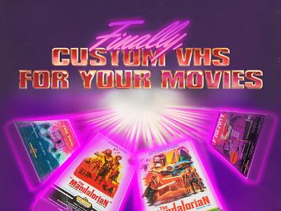 """Finally Custom VHS..."" promotional graphic print branding 1990s 1980s cinemarama illustration vhs analog design retro graphic design"