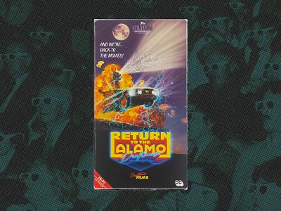 """Return to the Alamo"" VHS return to the alamo movie theater alamo drafthouse poster art poster design poster movie 1990s 1980s cinemarama illustration vhs analog design retro graphic design"