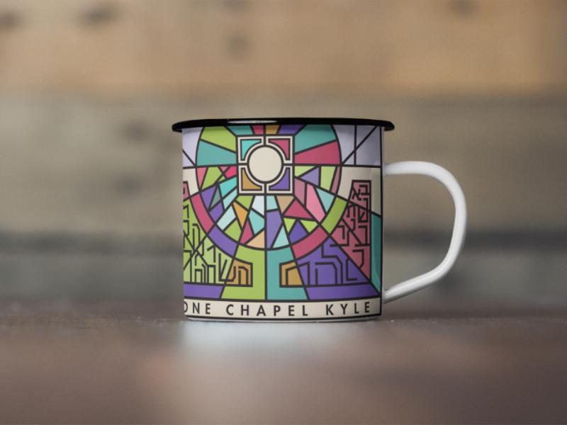One Chapel Kyle mug design christian color line illustrator mock up mug design stained glass church one chapel graphic design
