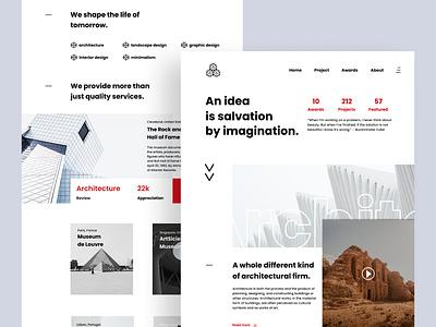Architecture Landing Page web design website typography ui ux ui design minimalism minimal landing page interface architecture creative clean