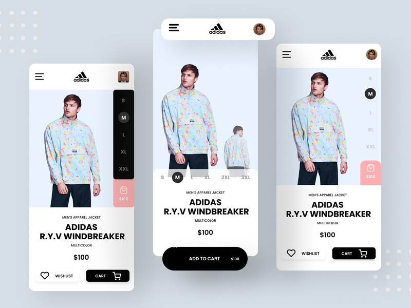 Adidas Mobile App ui ux uidesign ui sports design sports adidas originals adidas webdesign design web design ui design minimal interface icon creative clean