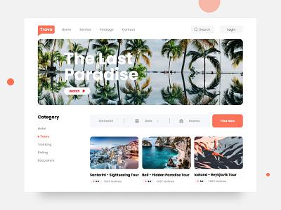 Trava - Travel Landing Page design interface ui design orange ui ux minimalism landing page web design web