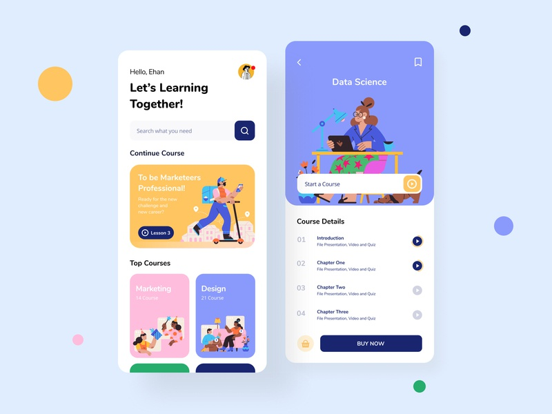 Course Mobile App Exploration daily ui illustration startup mobile app purple study app card ui school app school study book course course app clean minimal ui ux interface ui design yellow